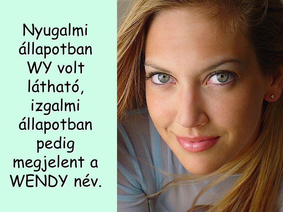 Nyugalmi állapotban WY volt látható, izgalmi állapotban pedig megjelent a WENDY név.