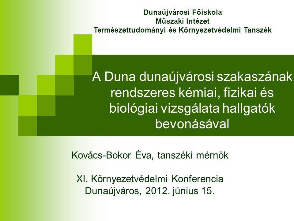 A Duna dunaújvárosi szakaszának rendszeres kémiai, fizikai és biológiai vizsgálata hallgatók bevonásával Kovács-Bokor Éva, tanszéki mérnök XI. Környez