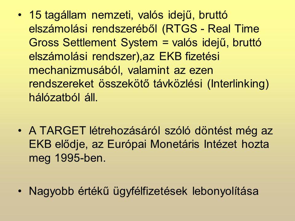 15 tagállam nemzeti, valós idejű, bruttó elszámolási rendszeréből (RTGS - Real Time Gross Settlement System = valós idejű, bruttó elszámolási rendszer