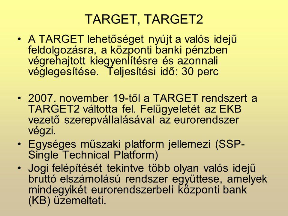 TARGET, TARGET2 A TARGET lehetőséget nyújt a valós idejű feldolgozásra, a központi banki pénzben végrehajtott kiegyenlítésre és azonnali véglegesítése.