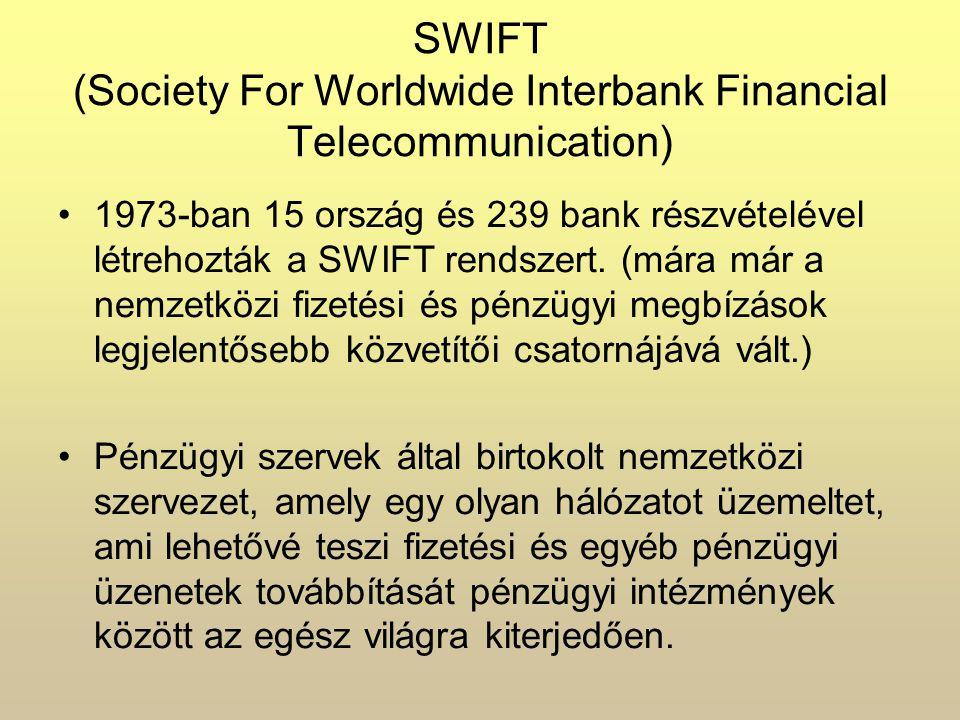 SWIFT (Society For Worldwide Interbank Financial Telecommunication) 1973-ban 15 ország és 239 bank részvételével létrehozták a SWIFT rendszert.