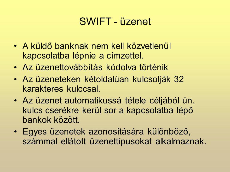 SWIFT - üzenet A küldő banknak nem kell közvetlenül kapcsolatba lépnie a címzettel. Az üzenettovábbítás kódolva történik Az üzeneteken kétoldalúan kul