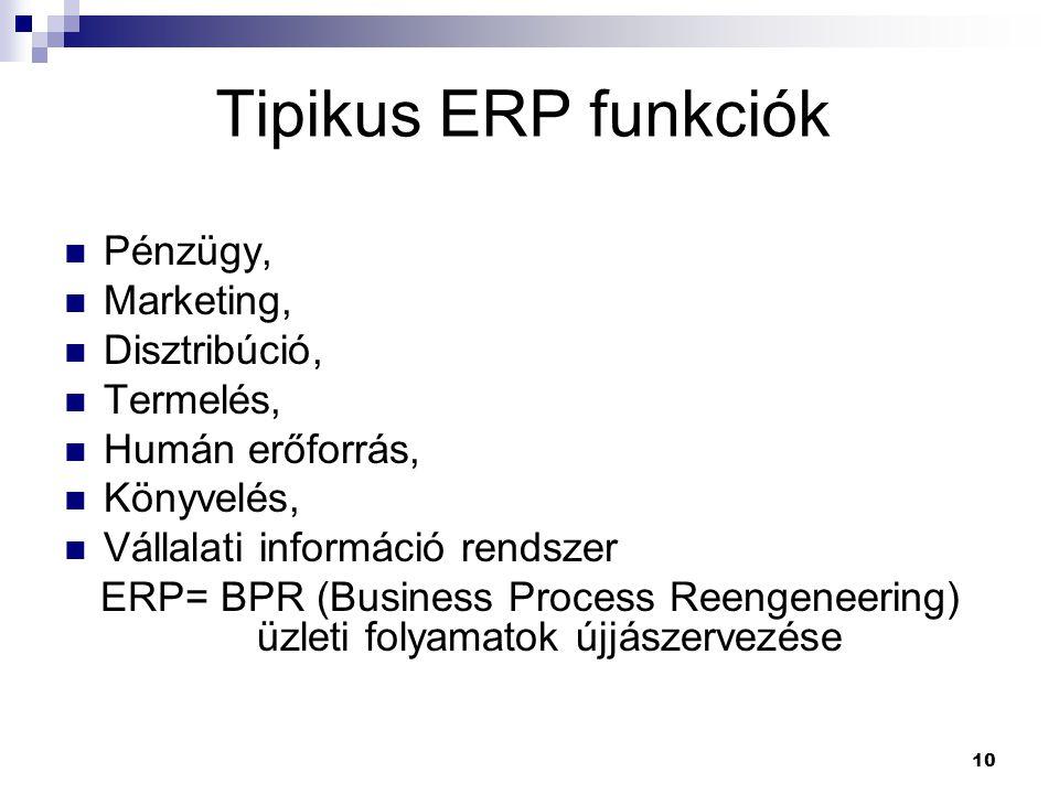 10 Tipikus ERP funkciók Pénzügy, Marketing, Disztribúció, Termelés, Humán erőforrás, Könyvelés, Vállalati információ rendszer ERP= BPR (Business Process Reengeneering) üzleti folyamatok újjászervezése