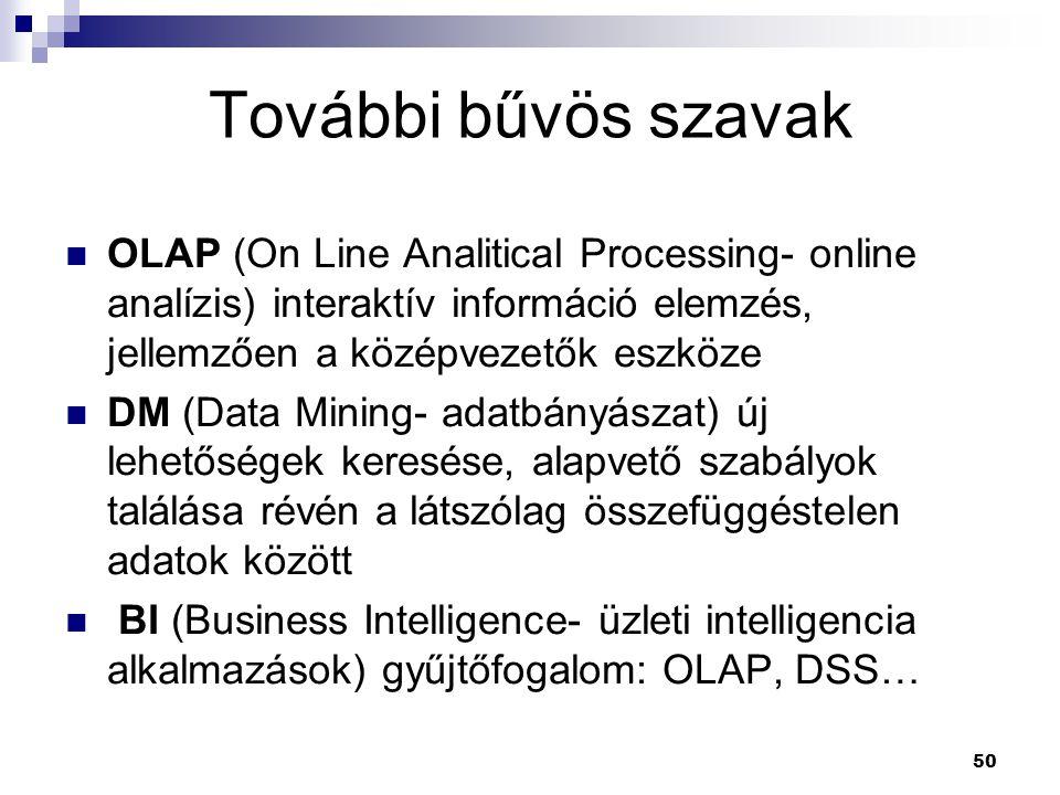 50 OLAP (On Line Analitical Processing- online analízis) interaktív információ elemzés, jellemzően a középvezetők eszköze DM (Data Mining- adatbányászat) új lehetőségek keresése, alapvető szabályok találása révén a látszólag összefüggéstelen adatok között BI (Business Intelligence- üzleti intelligencia alkalmazások) gyűjtőfogalom: OLAP, DSS… További bűvös szavak