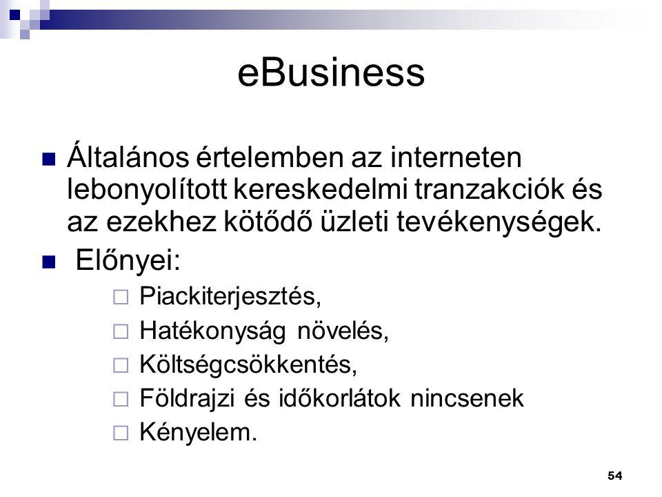 54 Általános értelemben az interneten lebonyolított kereskedelmi tranzakciók és az ezekhez kötődő üzleti tevékenységek.