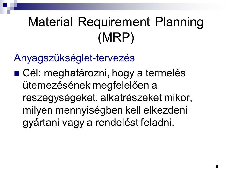 6 Material Requirement Planning (MRP) Anyagszükséglet-tervezés Cél: meghatározni, hogy a termelés ütemezésének megfelelően a részegységeket, alkatrészeket mikor, milyen mennyiségben kell elkezdeni gyártani vagy a rendelést feladni.