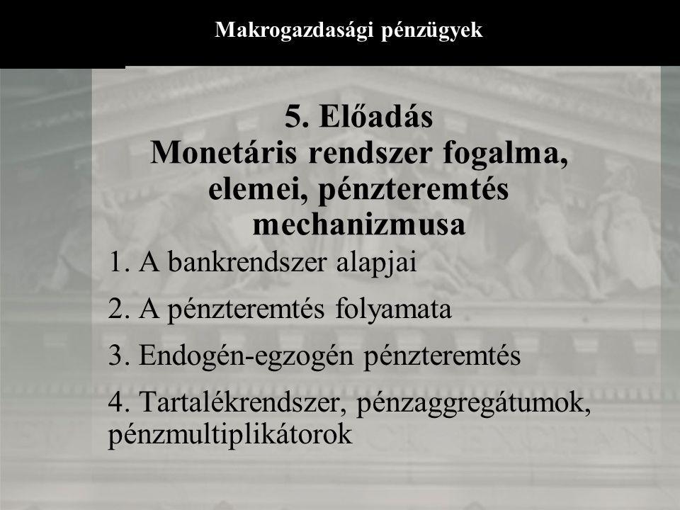 5.Előadás Monetáris rendszer fogalma, elemei, pénzteremtés mechanizmusa 1.