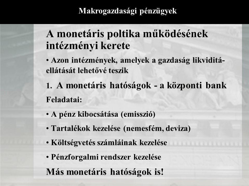 A monetáris poltika működésének intézményi kerete AlrendszerFunkcióAlkotó részek Koordinációs mechanizmus Jellemző kockázatok A nem pénzügyi szereplők