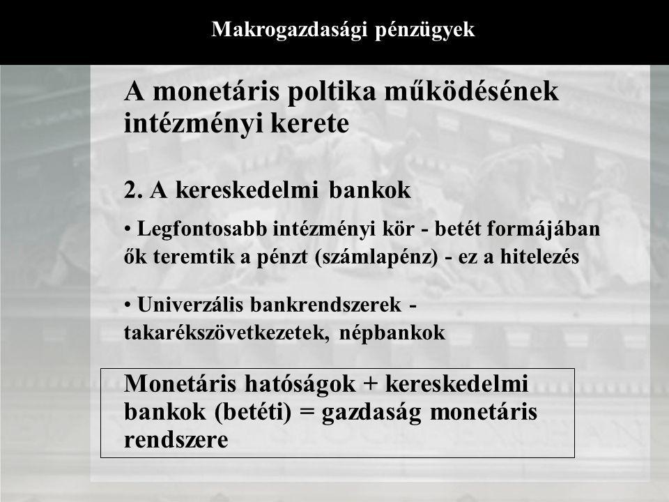 A monetáris poltika működésének intézményi kerete Azon intézmények, amelyek a gazdaság likviditá- ellátását lehetővé teszik 1. A monetáris hatóságok -
