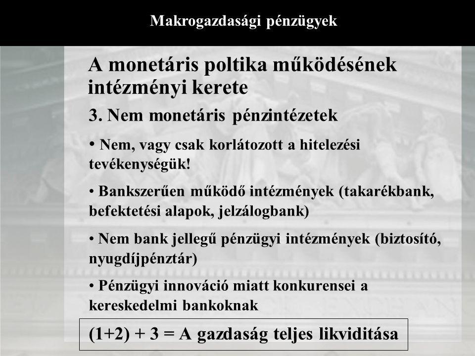 A monetáris poltika működésének intézményi kerete 2. A kereskedelmi bankok Legfontosabb intézményi kör - betét formájában ők teremtik a pénzt (számlap