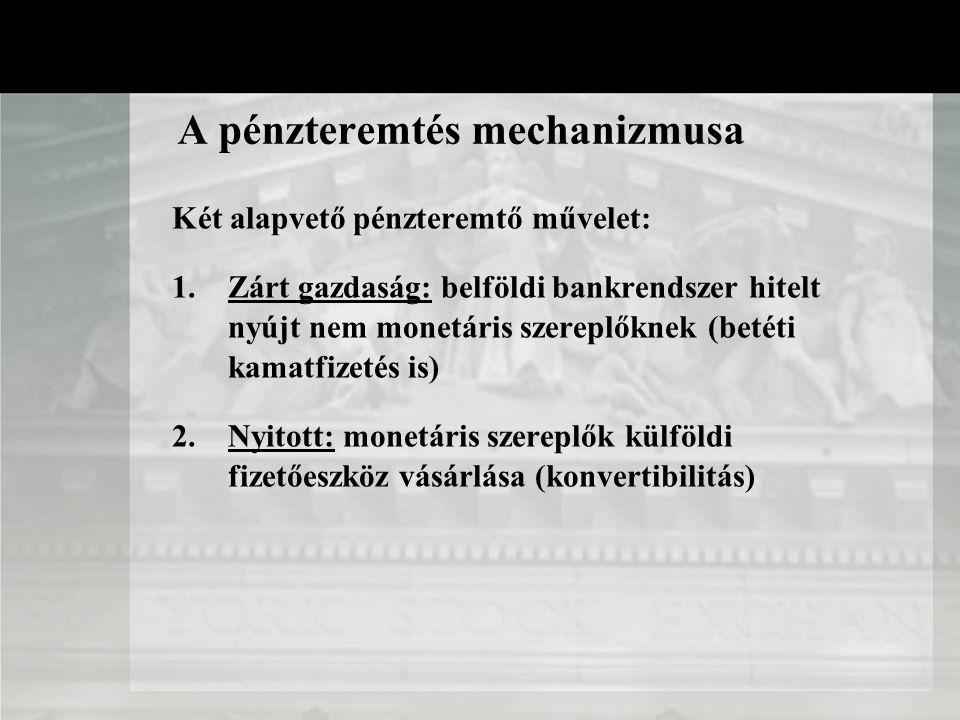 A pénzteremtés mechanizmusa Ki teremti a pénzt? 1. Jegybanki pénzteremtés 2. Kereskedelmi banki pénzteremtés 2 formája: 1. Készpénz - csak a jegybank