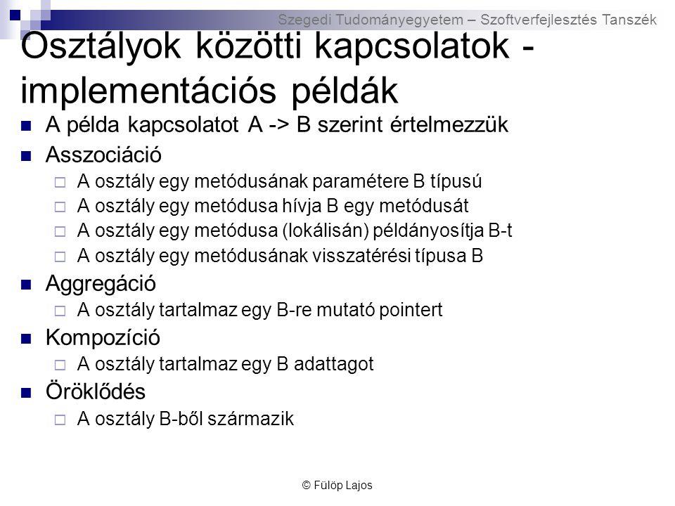 Szegedi Tudományegyetem – Szoftverfejlesztés Tanszék Osztályok közötti kapcsolatok - implementációs példák A példa kapcsolatot A -> B szerint értelmez