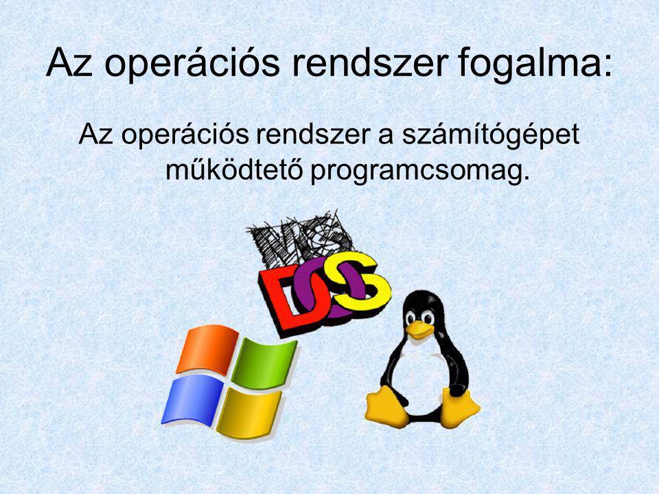 Az operációs rendszer fogalma: Az operációs rendszer a számítógépet működtető programcsomag.