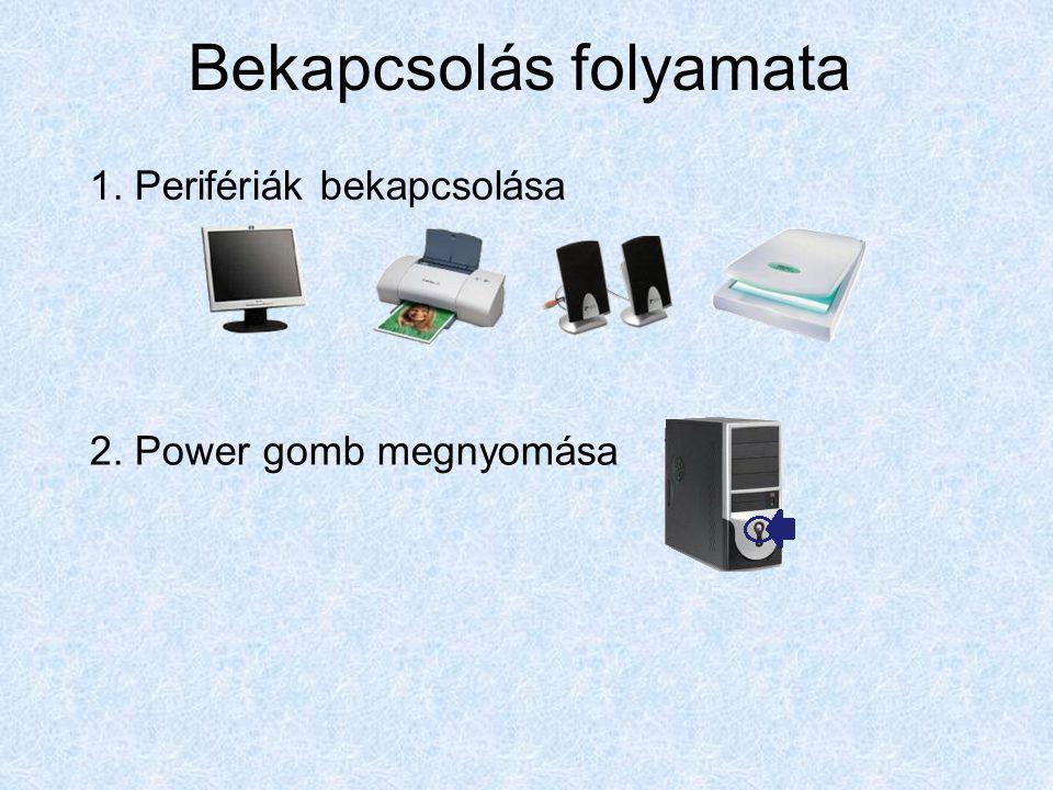 Bekapcsolás folyamata 1. Perifériák bekapcsolása 2. Power gomb megnyomása