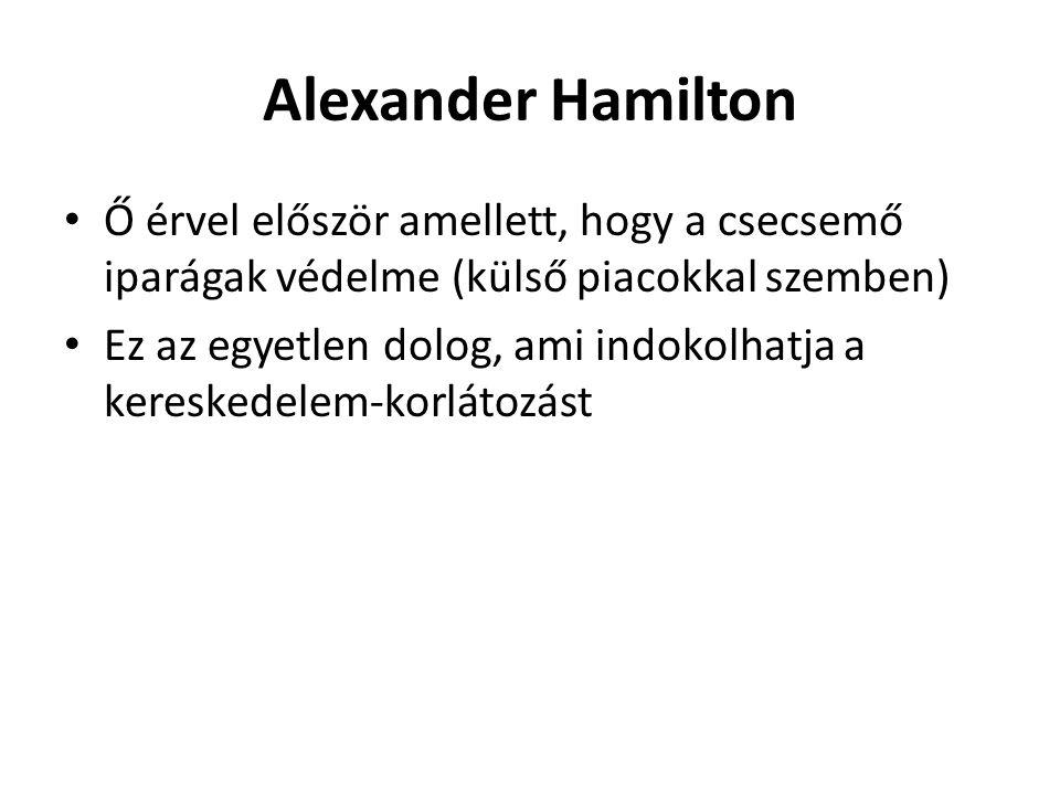 Alexander Hamilton Ő érvel először amellett, hogy a csecsemő iparágak védelme (külső piacokkal szemben) Ez az egyetlen dolog, ami indokolhatja a keres