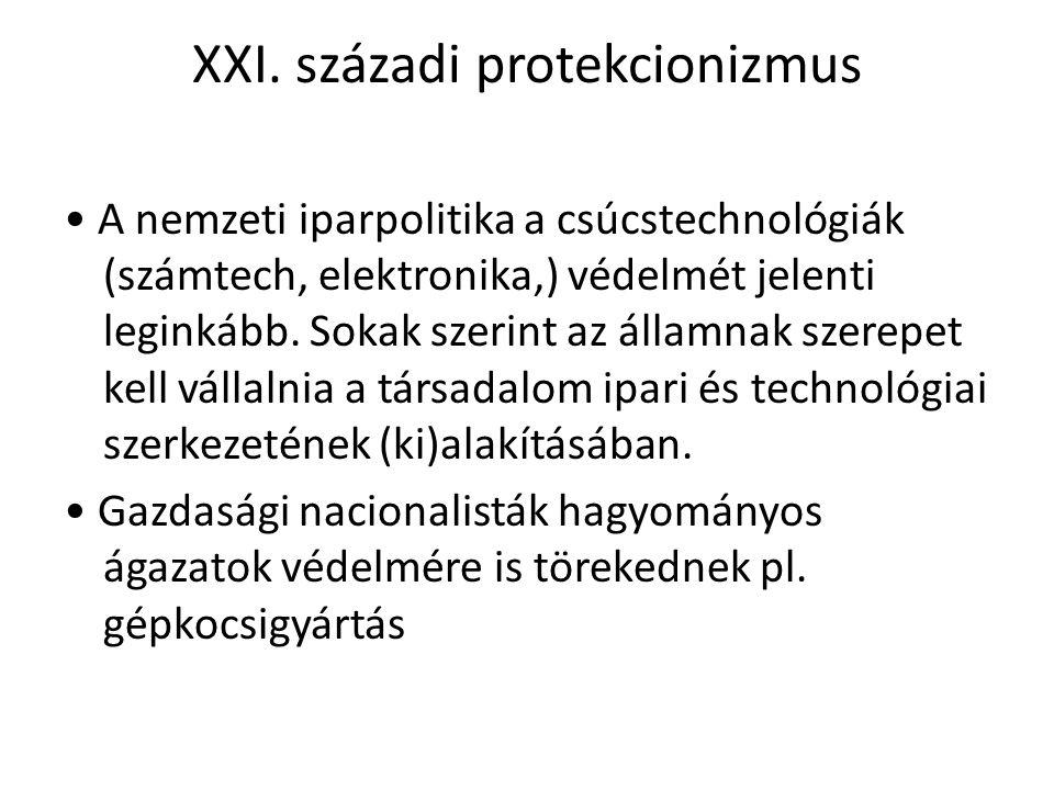 XXI. századi protekcionizmus A nemzeti iparpolitika a csúcstechnológiák (számtech, elektronika,) védelmét jelenti leginkább. Sokak szerint az államnak
