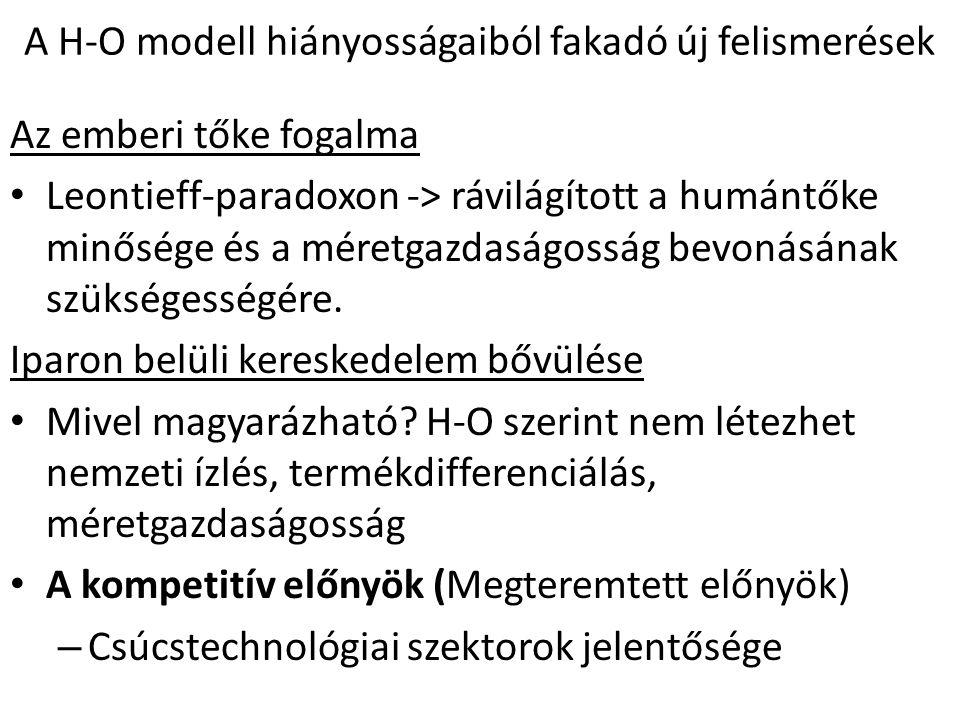 A H-O modell hiányosságaiból fakadó új felismerések Az emberi tőke fogalma Leontieff-paradoxon -> rávilágított a humántőke minősége és a méretgazdaság