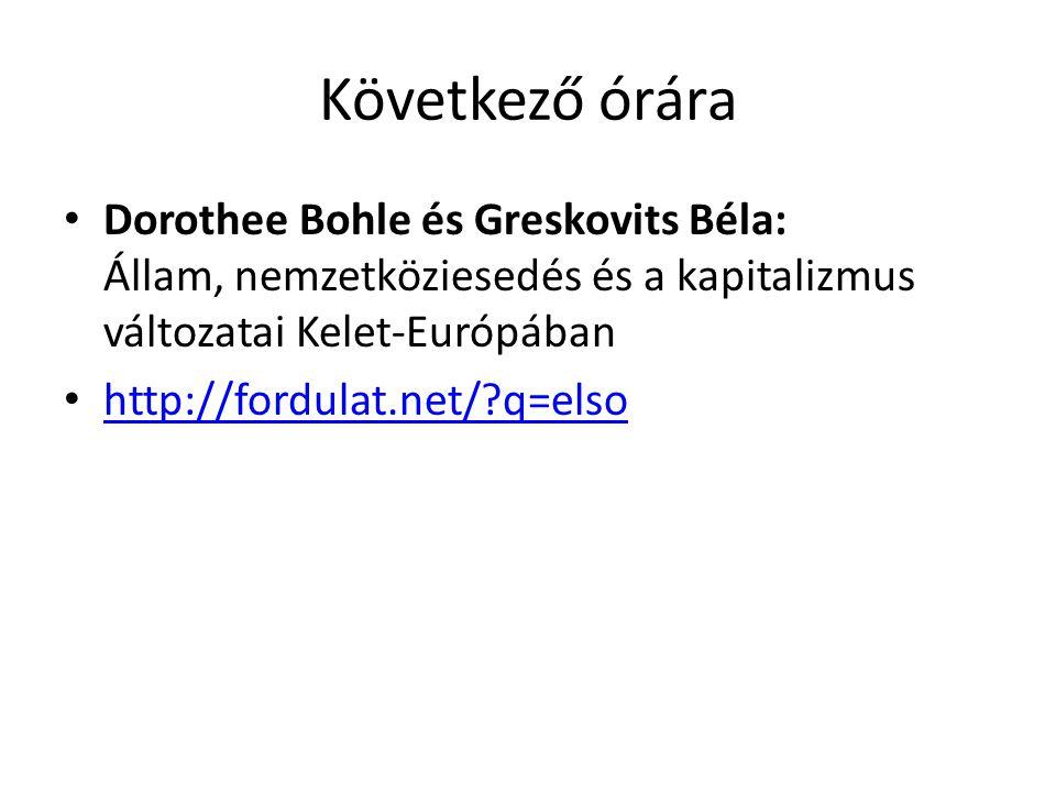 Következő órára Dorothee Bohle és Greskovits Béla: Állam, nemzetköziesedés és a kapitalizmus változatai Kelet-Európában http://fordulat.net/?q=elso