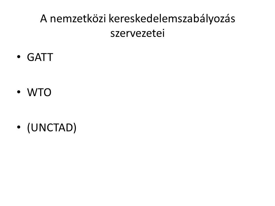 A nemzetközi kereskedelemszabályozás szervezetei GATT WTO (UNCTAD)