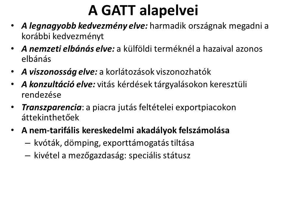 A GATT alapelvei A legnagyobb kedvezmény elve: harmadik országnak megadni a korábbi kedvezményt A nemzeti elbánás elve: a külföldi terméknél a hazaiva
