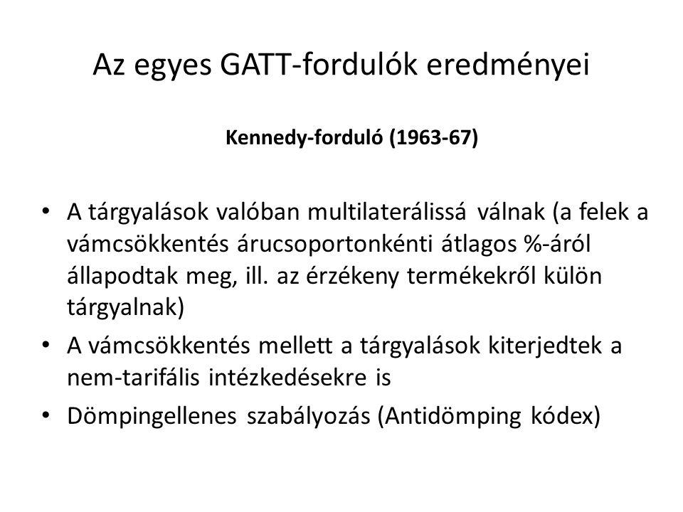 Az egyes GATT-fordulók eredményei Kennedy-forduló (1963-67) A tárgyalások valóban multilaterálissá válnak (a felek a vámcsökkentés árucsoportonkénti á
