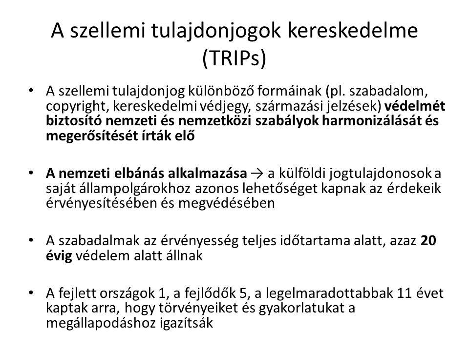 A szellemi tulajdonjogok kereskedelme (TRIPs) A szellemi tulajdonjog különböző formáinak (pl. szabadalom, copyright, kereskedelmi védjegy, származási