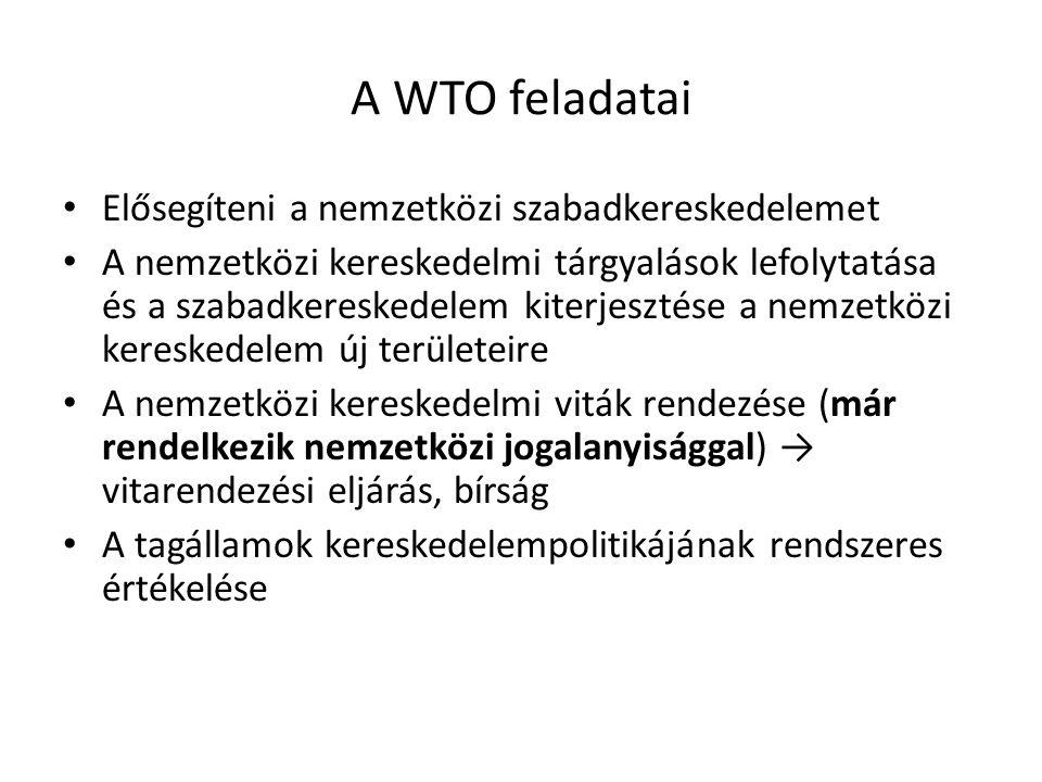 A WTO feladatai Elősegíteni a nemzetközi szabadkereskedelemet A nemzetközi kereskedelmi tárgyalások lefolytatása és a szabadkereskedelem kiterjesztése