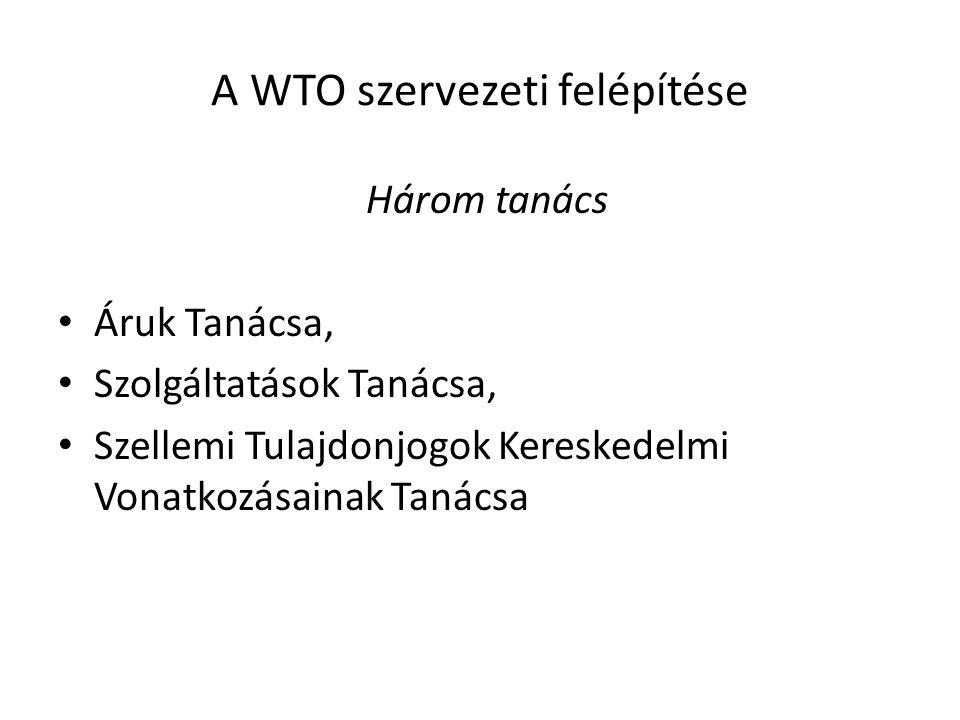 A WTO szervezeti felépítése Három tanács Áruk Tanácsa, Szolgáltatások Tanácsa, Szellemi Tulajdonjogok Kereskedelmi Vonatkozásainak Tanácsa