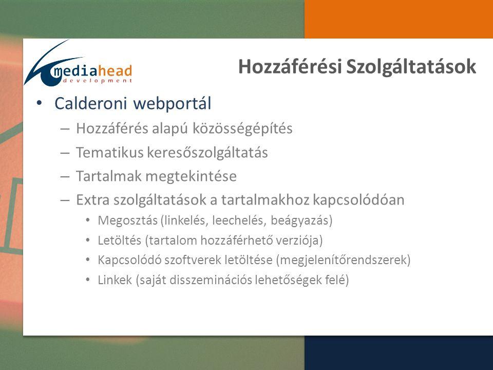 Hozzáférési Szolgáltatások Calderoni webportál – Hozzáférés alapú közösségépítés – Tematikus keresőszolgáltatás – Tartalmak megtekintése – Extra szolgáltatások a tartalmakhoz kapcsolódóan Megosztás (linkelés, leechelés, beágyazás) Letöltés (tartalom hozzáférhető verziója) Kapcsolódó szoftverek letöltése (megjelenítőrendszerek) Linkek (saját disszeminációs lehetőségek felé)