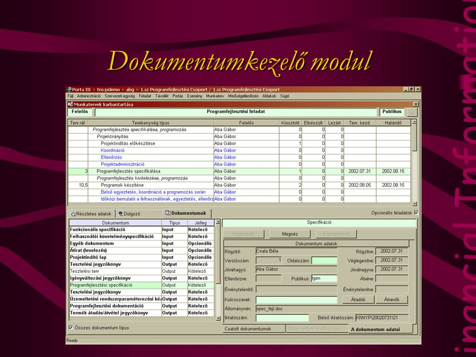 Financial Information Technology Dokumentumkezelő modul