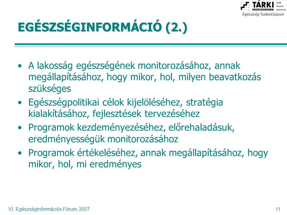 VI. Egészséginformációs Fórum, 200711 EGÉSZSÉGINFORMÁCIÓ (2.) A lakosság egészségének monitorozásához, annak megállapításához, hogy mikor, hol, milyen