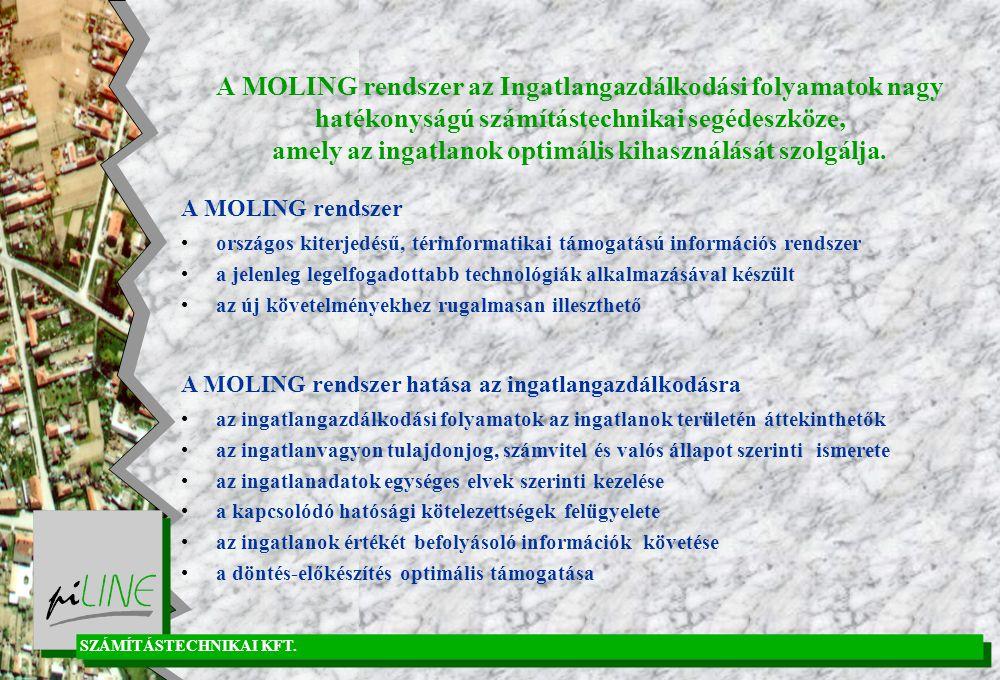 A MOLING rendszer az Ingatlangazdálkodási folyamatok nagy hatékonyságú számítástechnikai segédeszköze, amely az ingatlanok optimális kihasználását szolgálja.
