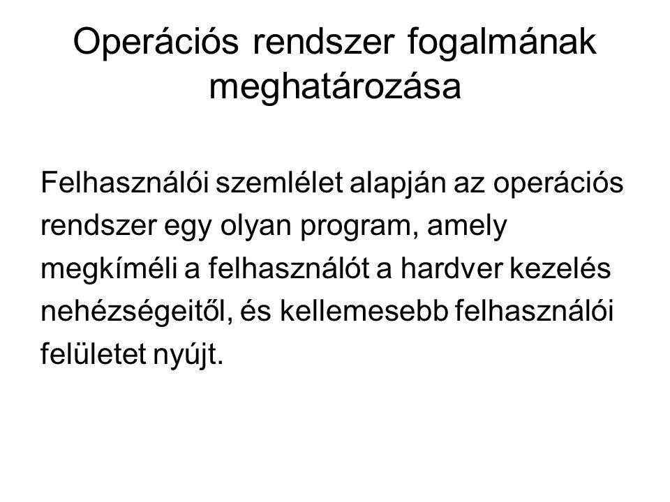 Operációs rendszer fogalmának meghatározása Felhasználói szemlélet alapján az operációs rendszer egy olyan program, amely megkíméli a felhasználót a h