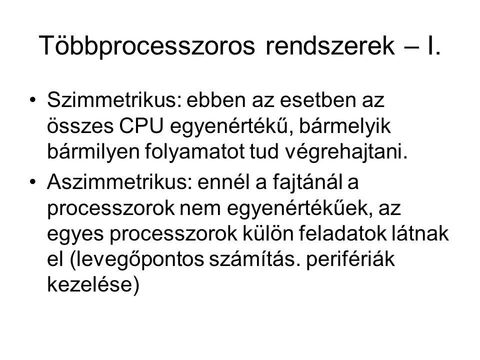 Többprocesszoros rendszerek – I. Szimmetrikus: ebben az esetben az összes CPU egyenértékű, bármelyik bármilyen folyamatot tud végrehajtani. Aszimmetri