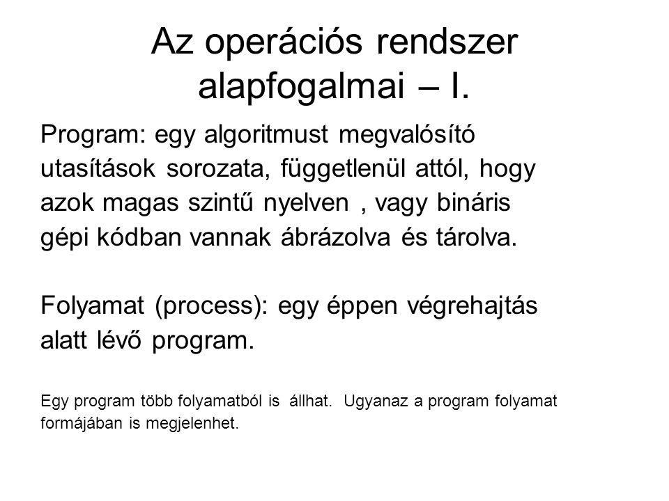 Az operációs rendszer alapfogalmai – I. Program: egy algoritmust megvalósító utasítások sorozata, függetlenül attól, hogy azok magas szintű nyelven, v