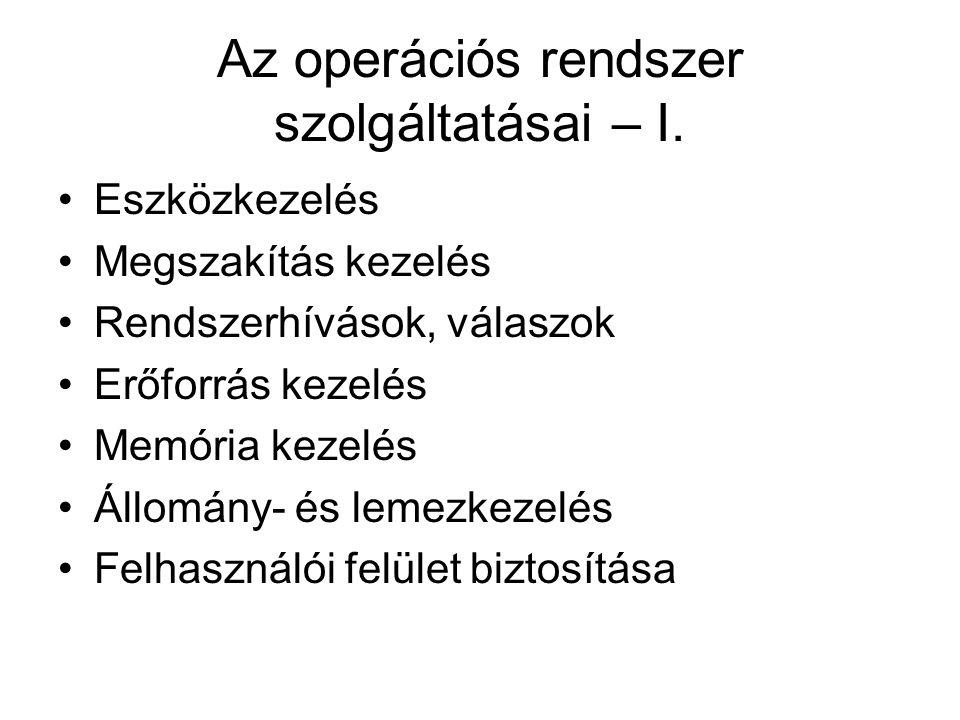 Irodalom Knapp-Adamis: Operációs rendszerek LSI 2002.