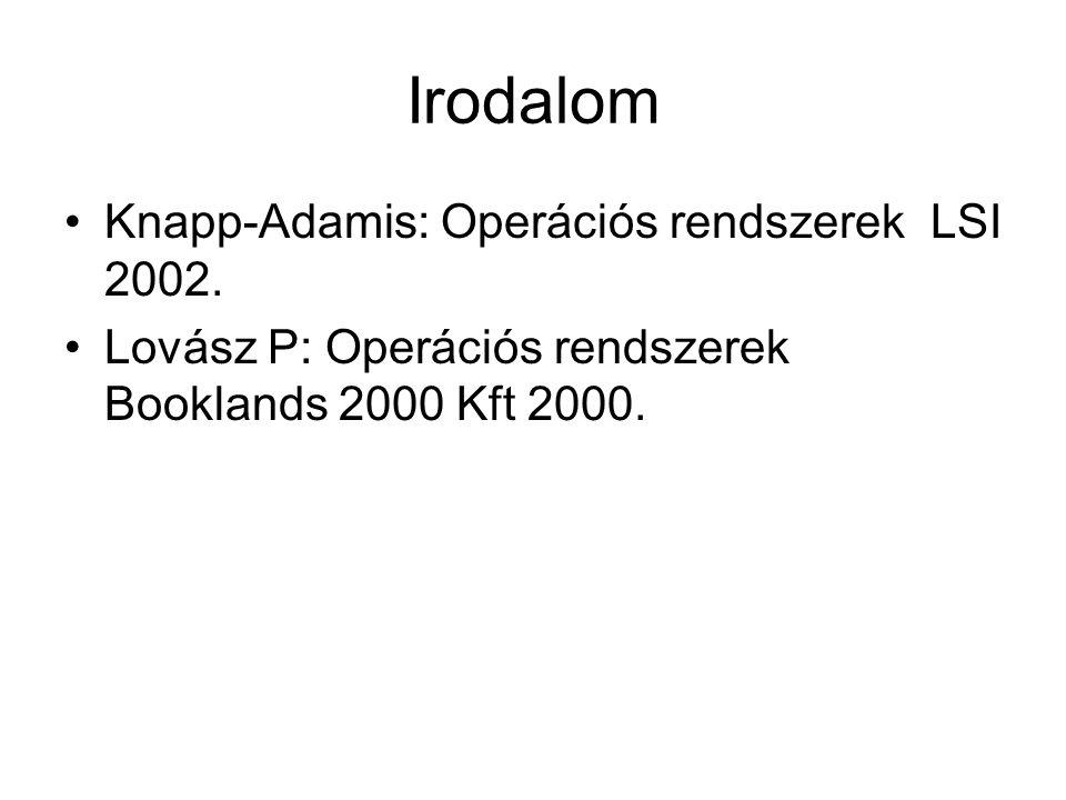 Irodalom Knapp-Adamis: Operációs rendszerek LSI 2002. Lovász P: Operációs rendszerek Booklands 2000 Kft 2000.