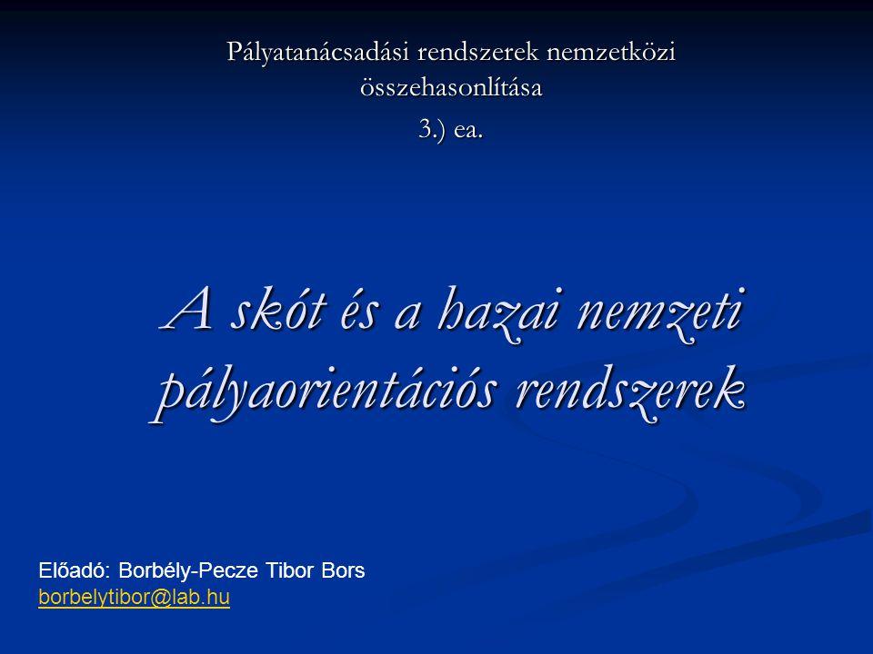 A skót és a hazai nemzeti pályaorientációs rendszerek Pályatanácsadási rendszerek nemzetközi összehasonlítása 3.) ea. Előadó: Borbély-Pecze Tibor Bors