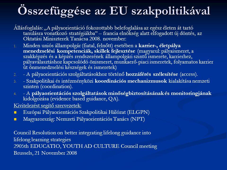 """Összefüggése az EU szakpolitikával Állásfoglalás: """"A pályaorientáció fokozottabb belefoglalása az egész életen át tartó tanulásra vonatkozó stratégiák"""