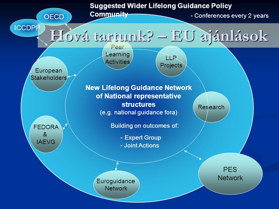 Euroguidance Network PES Network FEDORA & IAEVG European Stakeholders Peer Learning Activities LLP Projects Research ICCDPP OECD - Expert Group - Joint Actions - Conferences every 2 years New Lifelong Guidance Network of National representative structures (e.g.