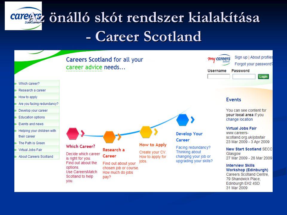 Careers Scotland A 2002 tavaszán alakított Careers Scotland eredményei azonban még akkor is számottevők, ha hozzátesszük, hogy a skót felfogásban az ifjúsági – gyermekvédelmi munka jelentős részét is a CS végzi el.