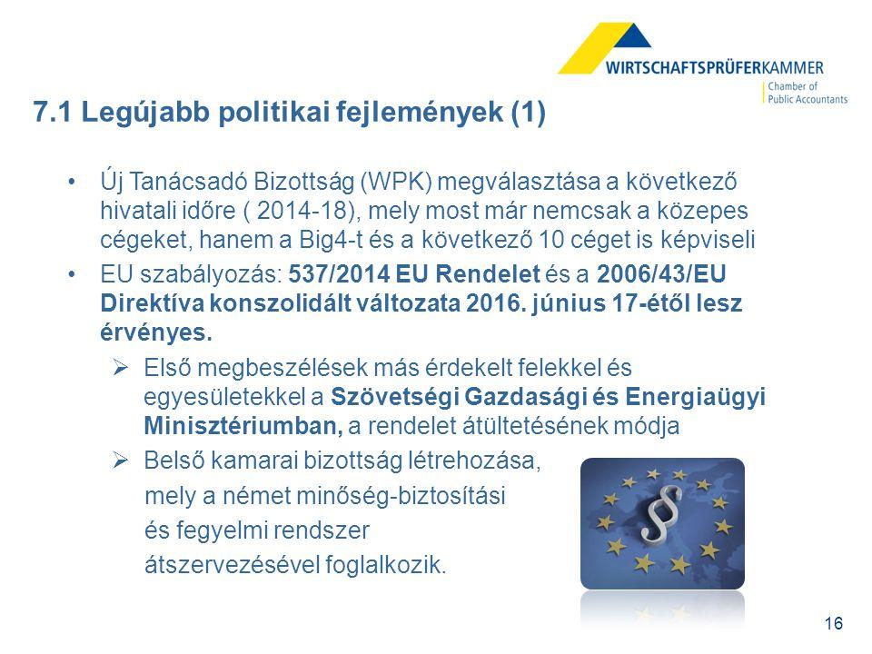 16 7.1 Legújabb politikai fejlemények (1) Új Tanácsadó Bizottság (WPK) megválasztása a következő hivatali időre ( 2014-18), mely most már nemcsak a kö