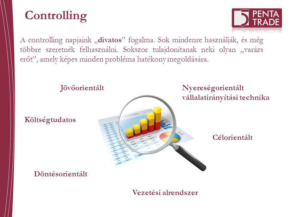 Controlling Nyereségorientált vállalatirányítási technika Jövőorientált Költségtudatos Döntésorientált Vezetési alrendszer Célorientált A controlling
