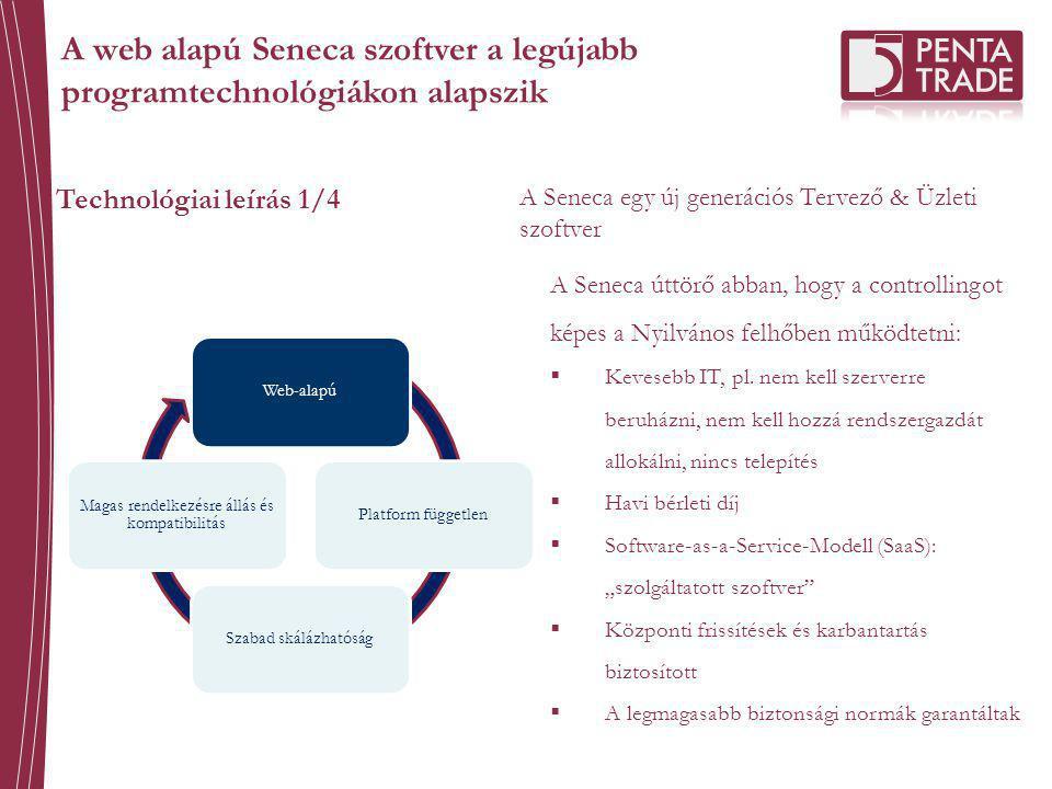 Technológiai leírás 1/4 A Seneca egy új generációs Tervező & Üzleti szoftver Web-alapúPlatform függetlenSzabad skálázhatóság Magas rendelkezésre állás és kompatibilitás A Seneca úttörő abban, hogy a controllingot képes a Nyilvános felhőben működtetni:  Kevesebb IT, pl.