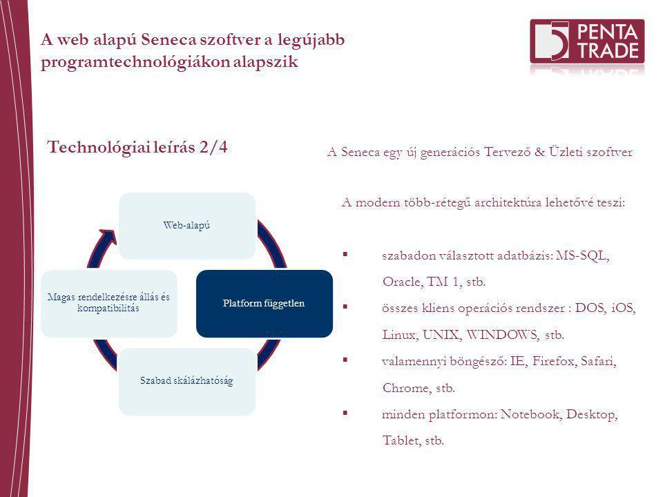 Technológiai leírás 2/4 A Seneca egy új generációs Tervező & Üzleti szoftver Web-alapúPlatform függetlenSzabad skálázhatóság Magas rendelkezésre állás és kompatibilitás A modern több-rétegű architektúra lehetővé teszi:  szabadon választott adatbázis: MS-SQL, Oracle, TM 1, stb.
