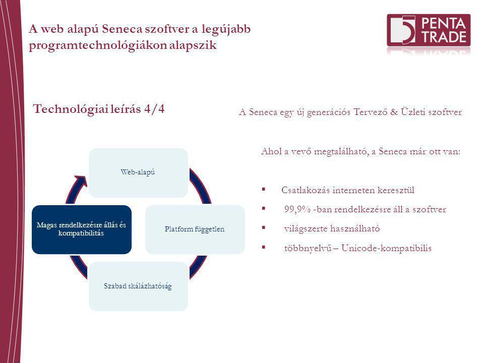 Technológiai leírás 4/4 A Seneca egy új generációs Tervező & Üzleti szoftver Web-alapúPlatform függetlenSzabad skálázhatóság Magas rendelkezésre állás és kompatibilitás Ahol a vevő megtalálható, a Seneca már ott van:  Csatlakozás interneten keresztül  99,9% -ban rendelkezésre áll a szoftver  világszerte használható  többnyelvű – Unicode-kompatibilis A web alapú Seneca szoftver a legújabb programtechnológiákon alapszik