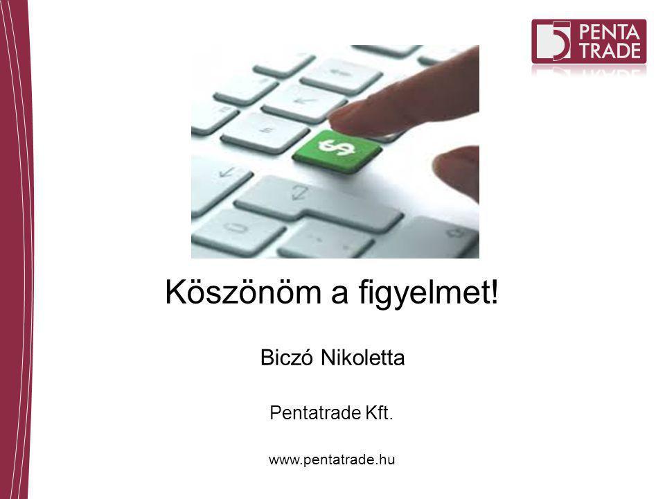 Köszönöm a figyelmet! Biczó Nikoletta Pentatrade Kft. www.pentatrade.hu