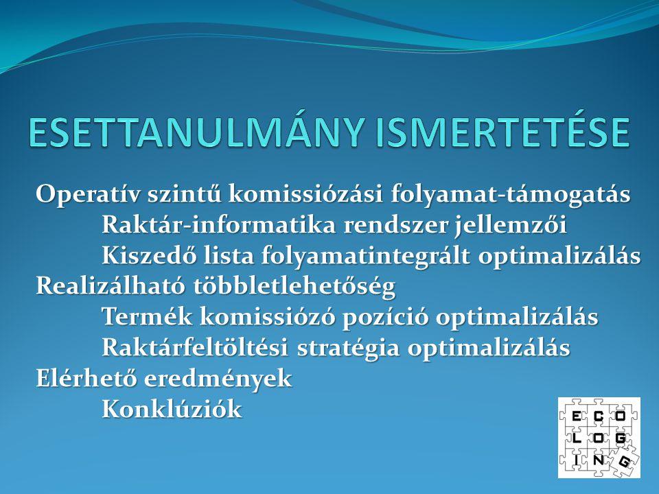 Operatív szintű komissiózási folyamat-támogatás Raktár-informatika rendszer jellemzői Kiszedő lista folyamatintegrált optimalizálás Realizálható többletlehetőség Termék komissiózó pozíció optimalizálás Raktárfeltöltési stratégia optimalizálás Elérhető eredmények Konklúziók