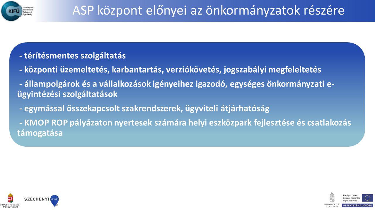 - térítésmentes szolgáltatás - központi üzemeltetés, karbantartás, verziókövetés, jogszabályi megfeleltetés - állampolgárok és a vállalkozások igényei