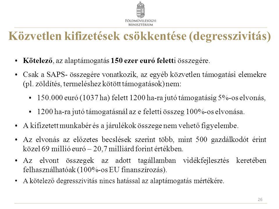 Közvetlen kifizetések csökkentése (degresszivitás) Kötelező, az alaptámogatás 150 ezer euró feletti összegére. Csak a SAPS- összegére vonatkozik, az e